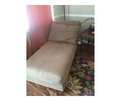 Tan/khaki microfiber chaise lounger