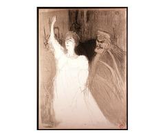 Original 1893 Lithograph by Toulouse-Lautrec Bartet et Mounet-Sully dans Antigone