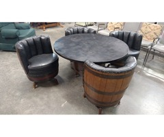 Whiskey Barrel Table and Chairs